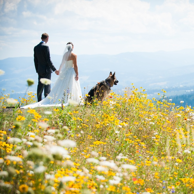 Elyssa and Casey posed with their dog in a meadow at their Washington vineyard reception and ceremony site.