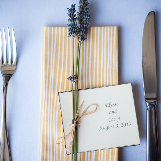 The bride's father designed and printed her place settings and tied them with lavender for a fragrant touch.