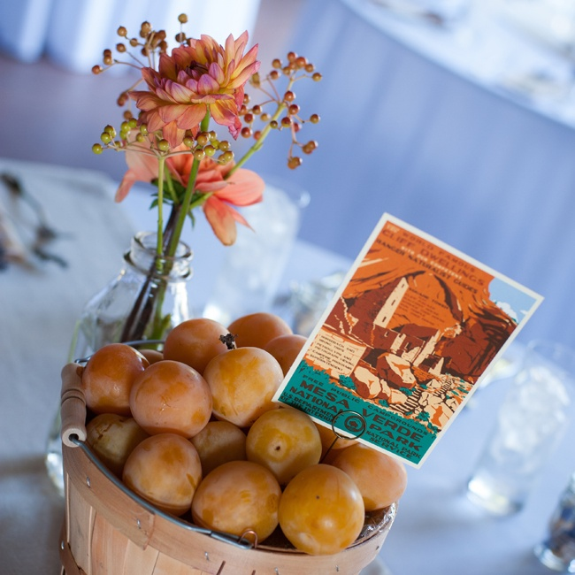 Table names were displayed in pails of freshly picked apricots and apples.