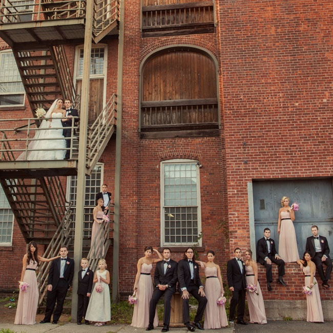 The bridal party had an air of Parisian elegance in long blush Wtoo gowns and classic black tuxedos.