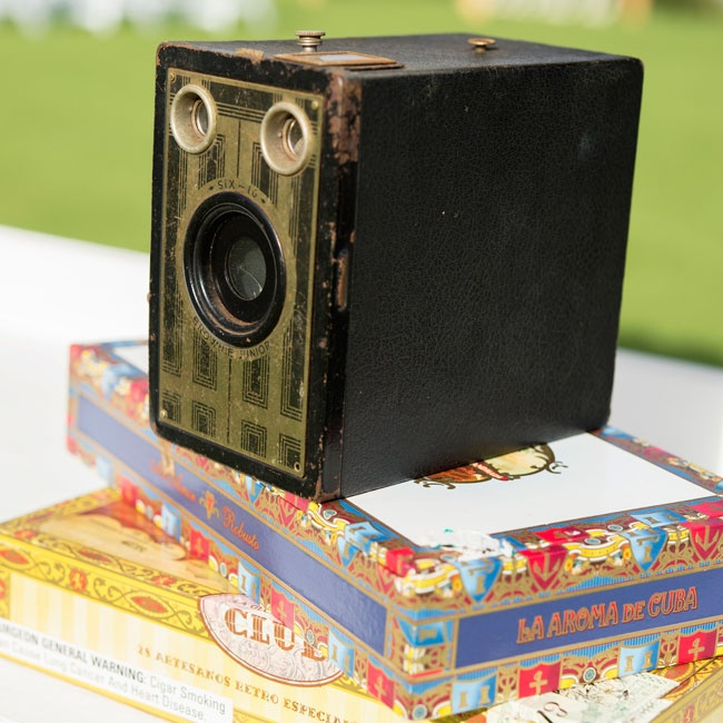 This antique camera made for a quaint reception decoration with a retro feel.
