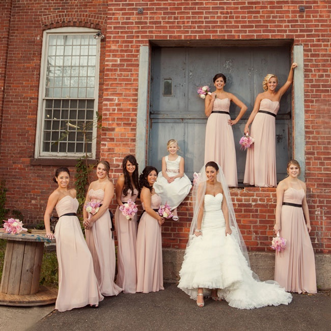 Erica added black belts to the blush Wtoo strapless bridesmaid gowns to complement the touches of black throughout the glamorous reception décor.