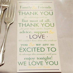 Thank You Card Place Settings