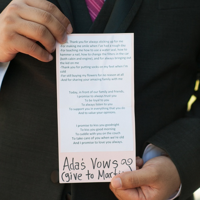 Both Ada and Andy wrote their own vows. Ada's are pictured here.
