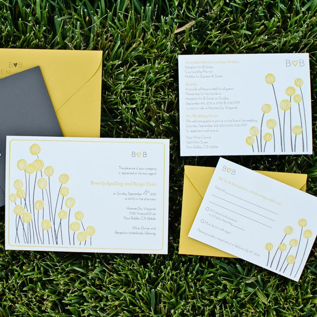 Illustrated yellow craspedias decorate the couple's wedding invitations.
