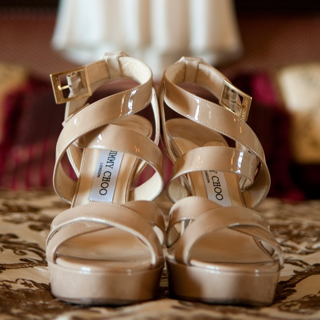 Sarah wore these strappy nude Jimmy Choo heels down the aisle.