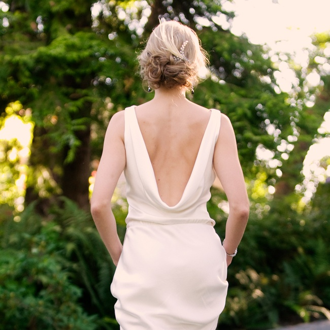 Sarah's simple silk dress by Alix & Kelly featured a low, draped, scooped back.