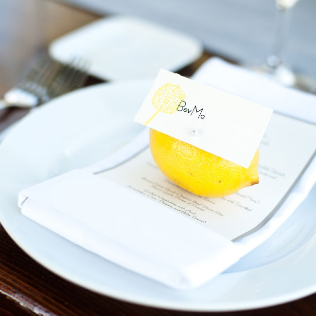 Beverly and Banjo put a fun twist on the reception decor using lemons as place card holders.
