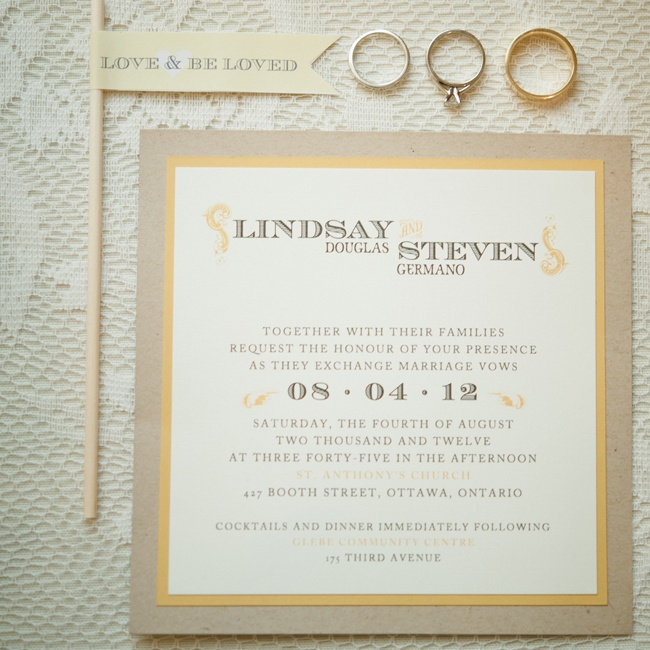 Lindsay and Steven chose a neutral invitation suite with yellow accents.