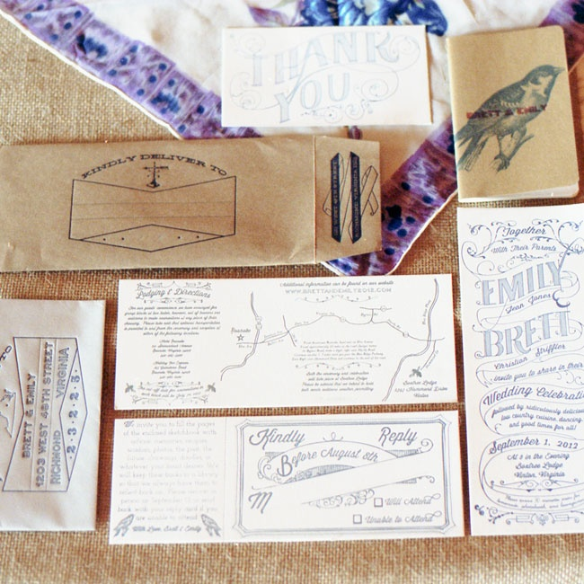 Emily custom designed and handmade all of the vintage-inspired paper items following a clean aesthetic and kraft paper accents.