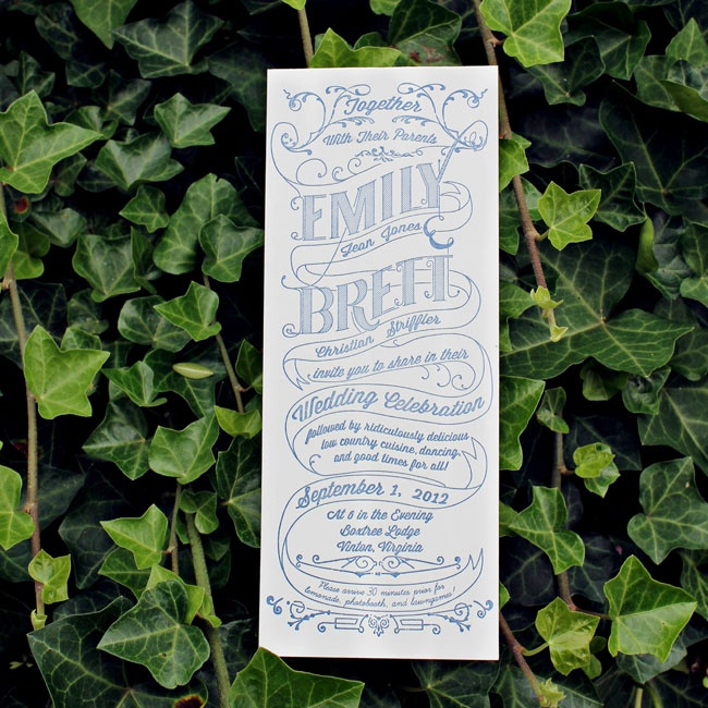 Emily designed and printed the crisp navy and white stationery with a vintage script font.