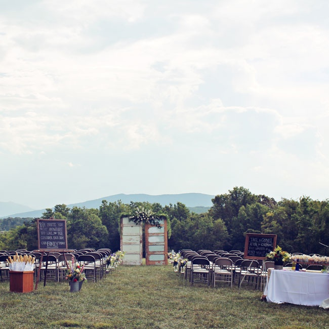 The Blue Ridge Mountains provided a stunning background for the outdoor ceremony (guests even enjoyed a heat lightning show!).