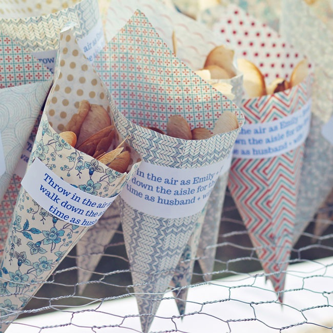 Guests were given cones in pastel vintage-inspired patterns, filled with helicopter seeds to shower the couple with after they exchanged vows.
