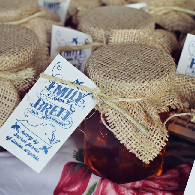 Emily designed and printed matching vintage-inspired tags to complete the honey jar favors.