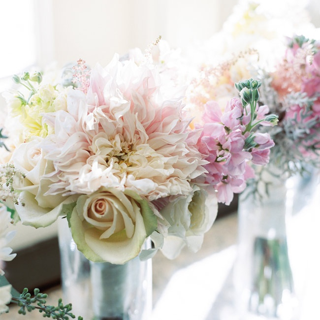 Pastel dahlias and snapdragons mixed with cream colored roses were soft and whimsical.