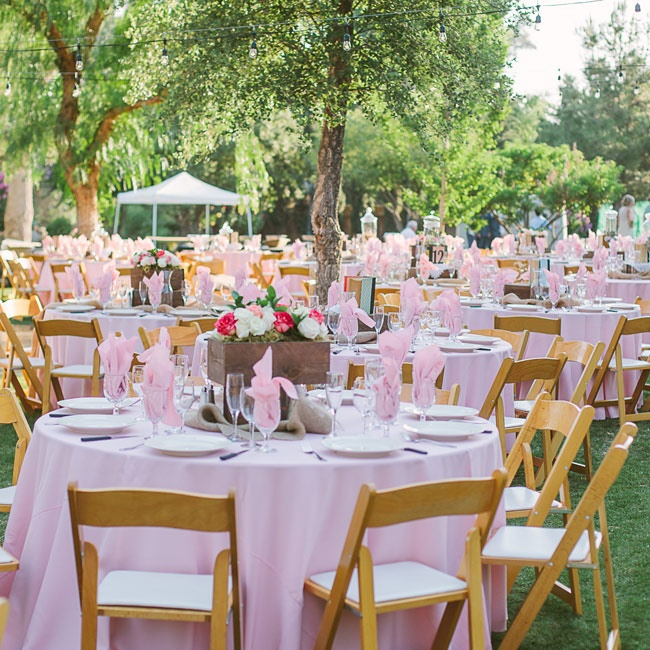 A sea of pink brought a feminine touch to the otherwise rustic feel of the day.