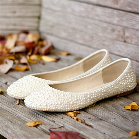 Ivory Pearl-Studded Flats