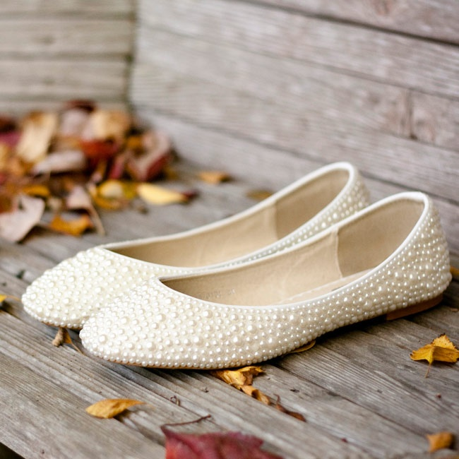 These cute and comfortable pearl-studded flats complemented Caitlin and Mark's vintage theme.