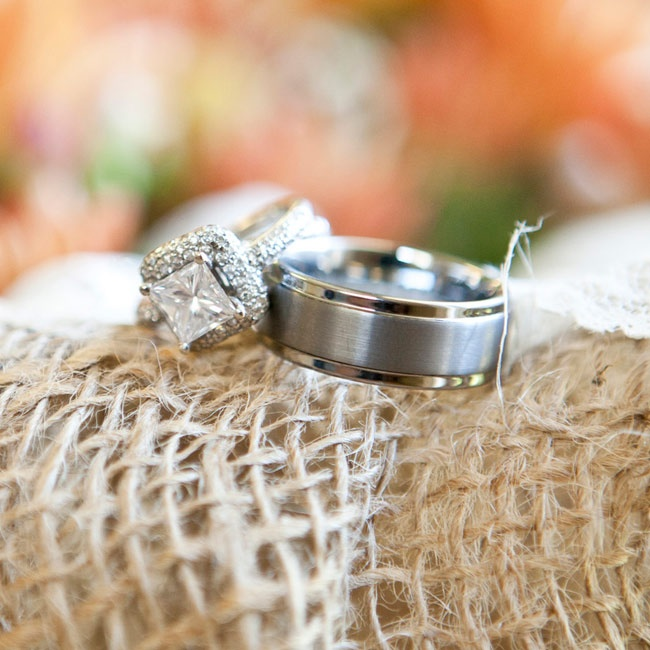 The couple chose a princess-cut halo ring for Caitlin and a white gold band for Mark featuring a combination of brushed and high-polish finishes.