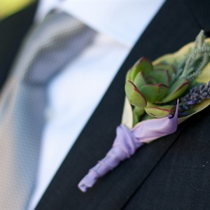 Lavender and Succulent Boutonniere