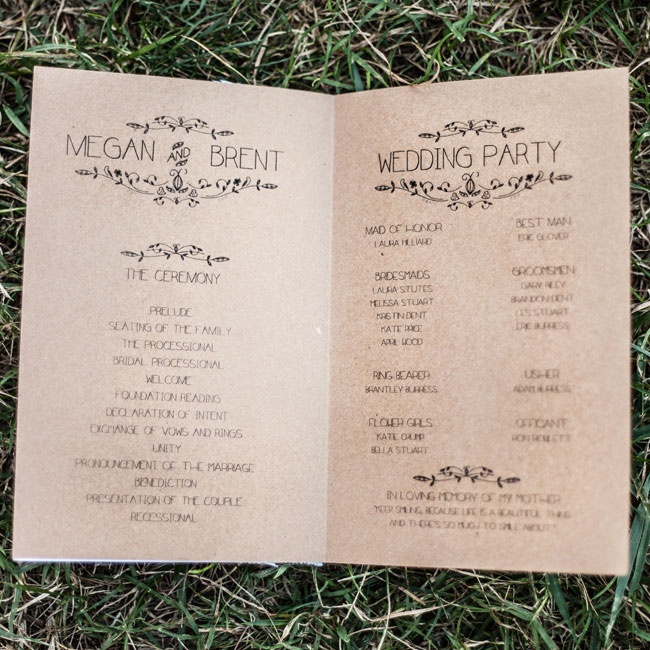 Keeping with the rustic chic theme, the couple chose simple Kraft paper and a fun font for their ceremony programs, which they made themselves.