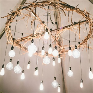 Modern Rustic Reception Lighting