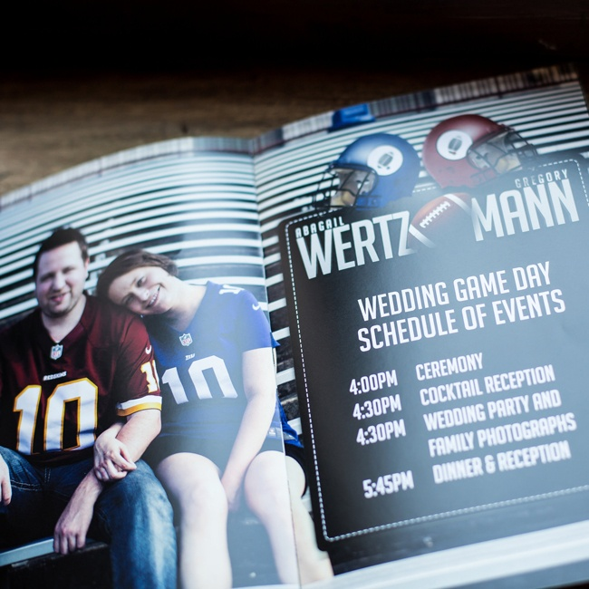 The couple set up their program of events to look like a football program you might find at a game.