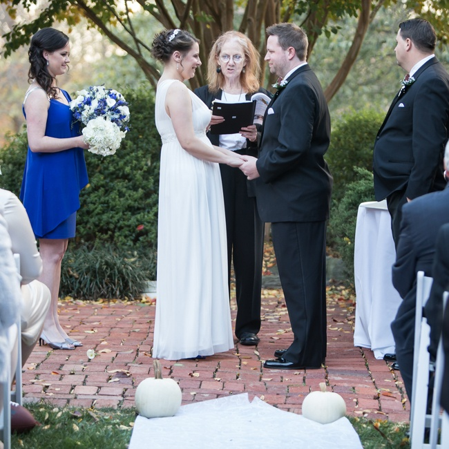 The couple exchanged vows in an outdoor setting in Gaithersburg, MD.