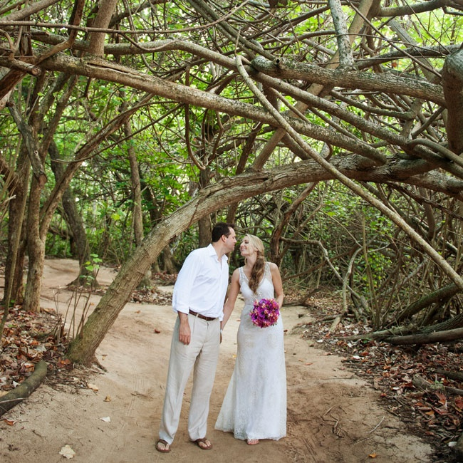 The groom wore light tan slacks, flip-flops and a crisp, white shirt for the destination ceremony.