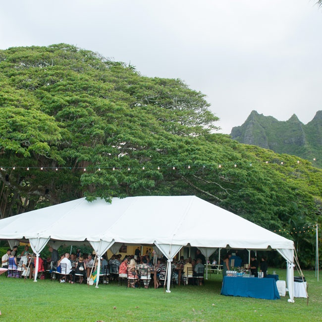 The reception was held under a white tent. Guests came to Hawaii from London, Germany and all over the United States for the event.