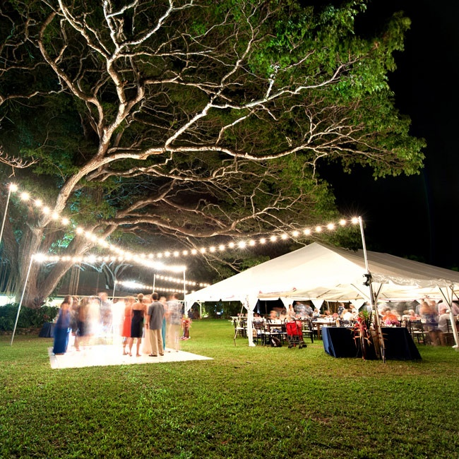 A dance floor was set up outside underneath bistro lighting after the reception dinner.