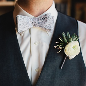 White and Green Boutonniere
