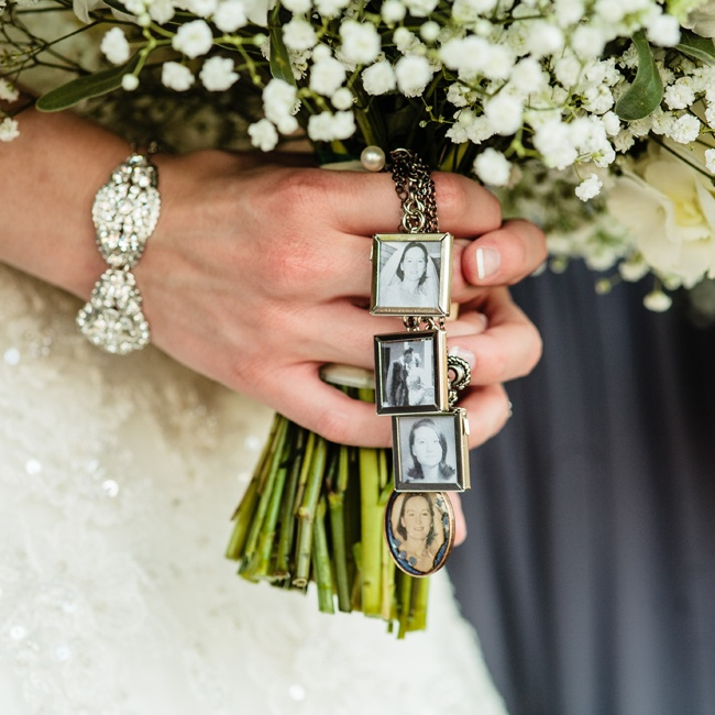 Sarah's sister made this sentimental bouquet wrap for her to carry down the aisle. The tiny lockets were filled with vintage family wedding photos.