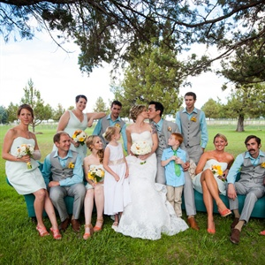 Light Blue and Orange Wedding Party