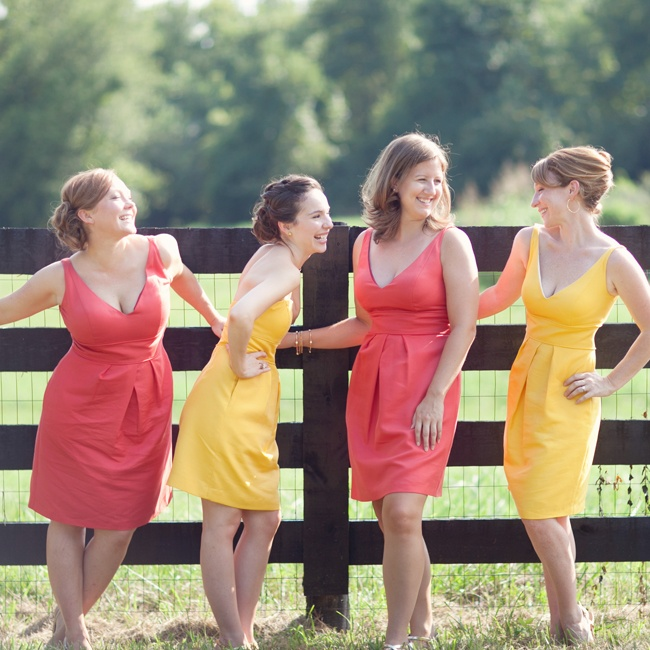 Elise's bridesmaids wore pink and yellow V-neck dresses by Jenny Yoo.