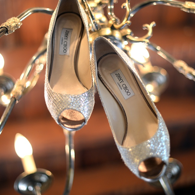 Amanda chose a glam pair of Jimmy Choo metallic peep-toe shoes to walk down the aisle.