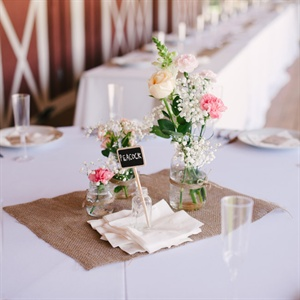 Burlap and Mason Jar Reception Decor