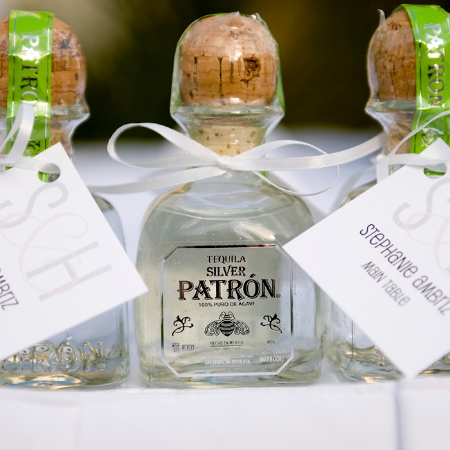 Mini bottles of Patron tequila made fun Mexican-inspired favors for the couple's guests.