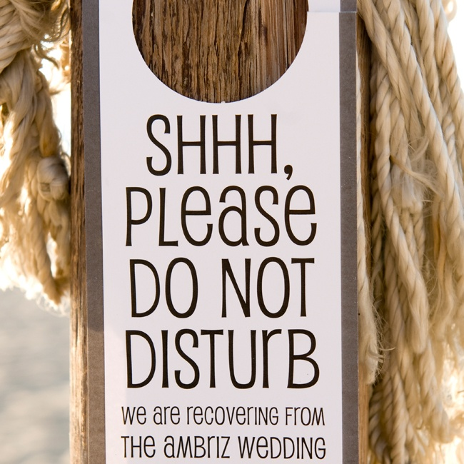 """The newly weds had these """"Do Not Disturb"""" signs made in anticipation of an evening full of lively celebrations."""