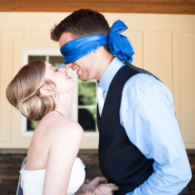 "Scott wore a blindfold during the couples first ""not-look"" so they could have a moment alone together before the ceremony without breaking tradition."