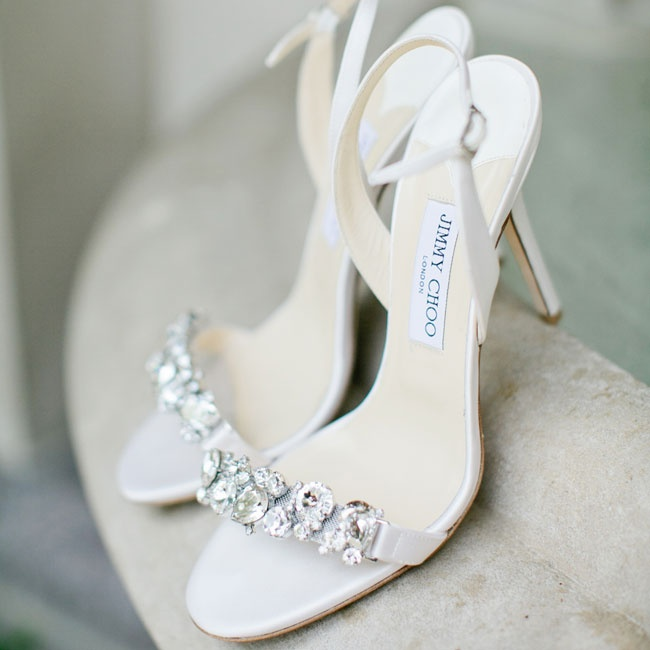 A pair of crystal-embellished Jimmy Choo's added a touch of sparkle to Ronda's elegant bridal look.