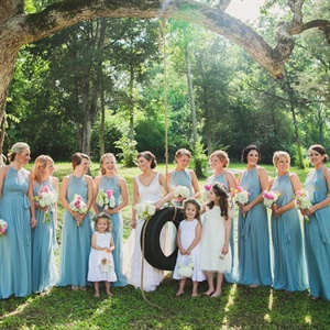 Blue Halter Bridesmaid Dresses