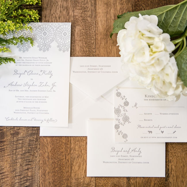 Selecting and designing paper products was one of the highlights of the wedding planning process for Brigid, who decided on a stately medallion lace letterpress motif.