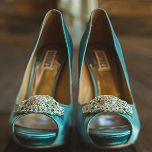 Badgley Mischka Teal Heels
