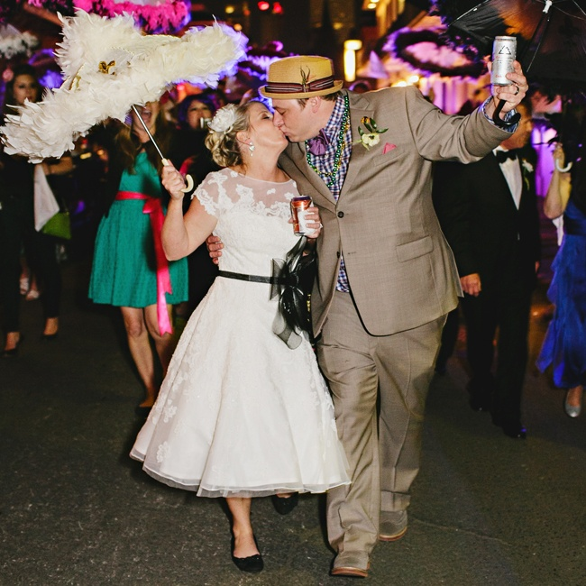 The couple participated in New Orleans' traditional second line parade between the ceremony and reception.