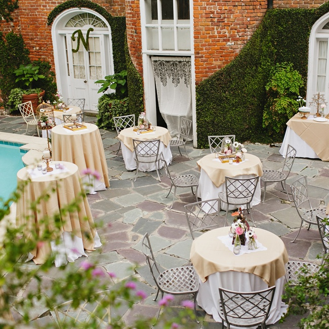 The bride and groom's reception was bistro-inspired, with and outdoor cafe vibe.