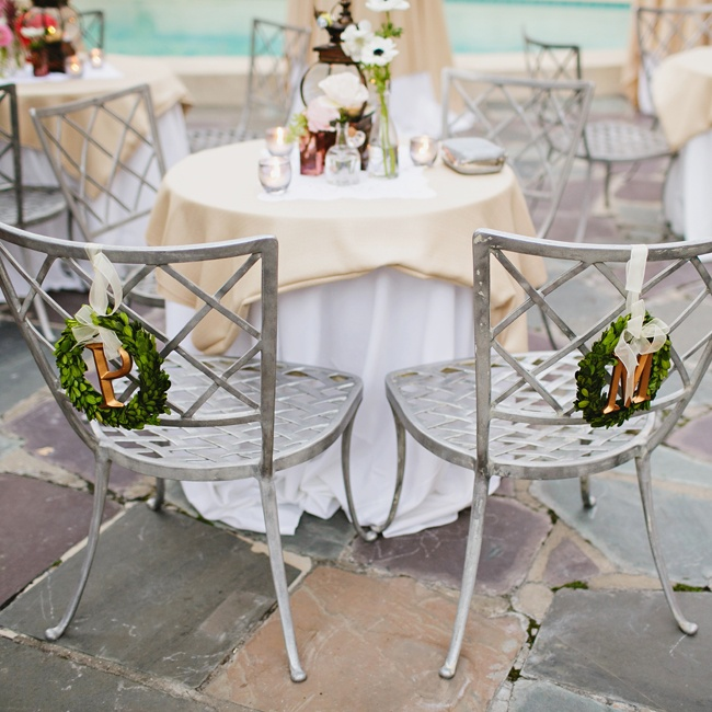 The couple sat at a traditional sweetheart table during the reception dinner.