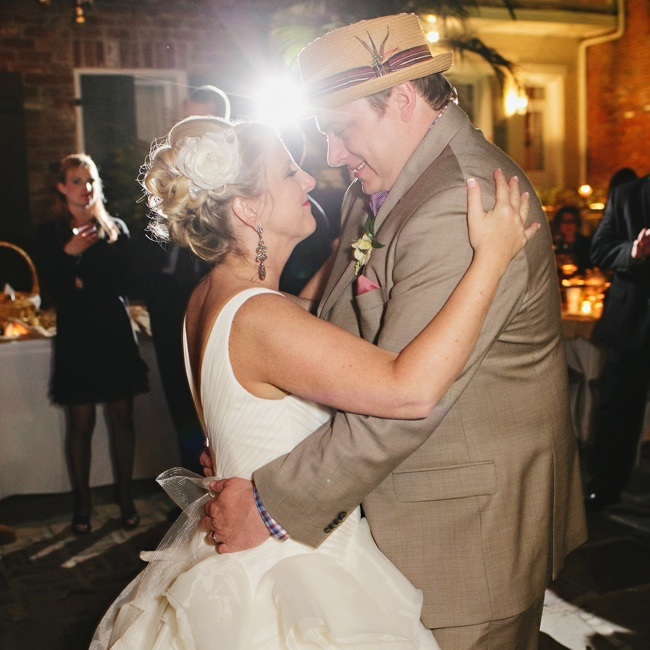 The couple's retro reception outfits set the tone for the dancing portion of the reception.