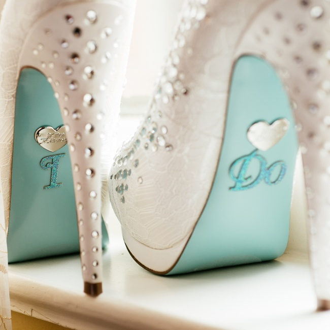 "The bride made her Betsey Johnson bridal heels extra special when she placed the words ""I do"" on the soles."
