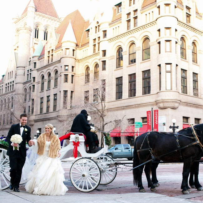 After their traditional church ceremony, the couple rode to their winter reception in a romantic horse-drawn carriage.